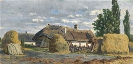 Artwork by Theodor von Hörmann, Hungarian Farmhouses, Made of oil on panel