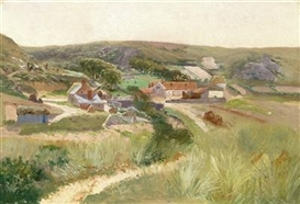 Theodor von Hörmann, Near Znaim - Guesthouse with Adjoining Buildings, Surrounded by Fields and Meadows