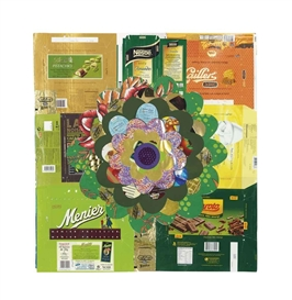 Artwork by Beatriz Milhazes, Aubergine III (Green), Made of foil, fabric and paper collage on card