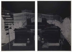 Artwork by Vera Lutter, Vienna Sucession, II: June 24, 1999, Made of gelatin silver print, in two parts