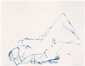 Artwork by Tracey Emin, Deep Blue V, Made of gouache on paper
