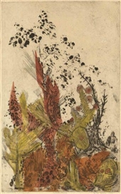 Artwork by Betye Saar, The Wounded Wilderness, Made of Color etching and aquatint on cream wove paper
