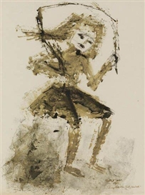 Artwork by Betye Saar, Jump on One Foot, One Foot, Made of Oil monotype on thin cream wove paper, mounted to cardstock