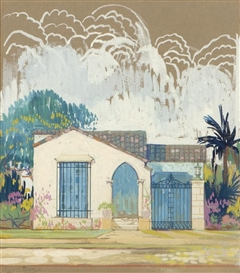 Artwork by Louis Comfort Tiffany, California residential rendering, Made of gouache on paper under glass