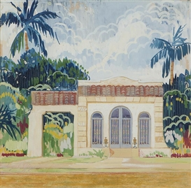 Artwork by Louis Comfort Tiffany, California residential rendering with palm trees, Made of gouache on paper under glass