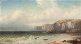 Artwork by William Trost Richards, Rocky cliffs coastal, Made of oil on canvas
