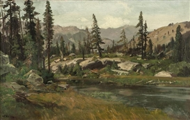 Artwork by William Keith, Merced Summer, Made of oil on canvas laid to canvas