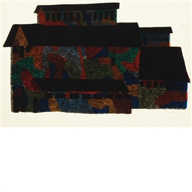 Artwork by Ben Shahn, MINE BUILDING, Made of Hand-colored screenprint