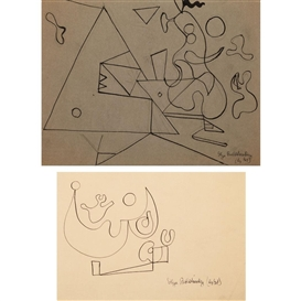 Artwork by Ilya Bolotowsky, 2 works: Untitled Biomorphic Abstraction; Untitled Abstraction, Made of Ink on linen paper; Ink on gray paper