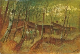 Artwork by László Mednyánszky, Soldiers in the Forest, Made of Oil on canvas