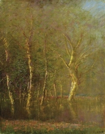 Artwork by László Mednyánszky, Forest detail, Made of Oil on canvas