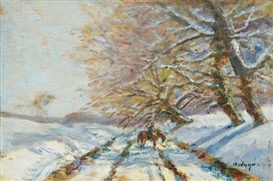 Artwork by László Mednyánszky, Winter Landscape with a Horseman, Made of Oil on wood