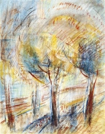 Artwork by Jozsef Egry, Forest detail, Made of Pastel on paper