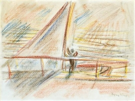 Artwork by Jozsef Egry, Bracing in the sails, Made of Pastel on paper