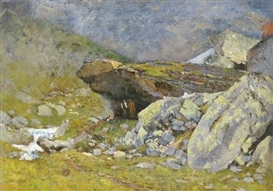 Artwork by László Mednyánszky, Cave in the Tatra, Made of Oil on canvas