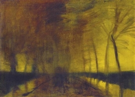 Artwork by László Mednyánszky, Forest in Twilight, Made of Oil on canvas