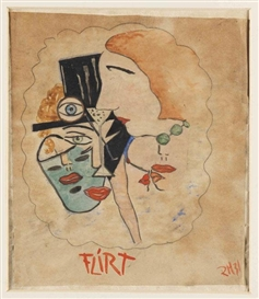 Artwork by Raoul Hausmann, Flirt, Made of Watercolor and gouache over pencil