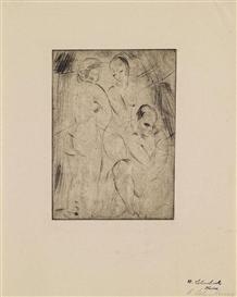 Artwork by Wilhelm Lehmbruck, Drei Frauen, zwei stehend, eine kniend, Made of Drypoint