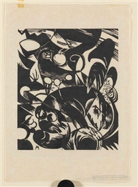 Artwork by Franz Marc, Schöpfungsgeschichte I, Made of Woodcut
