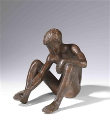 Artwork by Gerhard Marcks, Zehspieler, Made of Bronze with brown patina