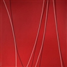 Lorser Feitelson, Untitled (Black and White Lines on Red Background)