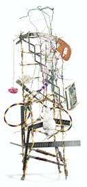 Artwork by Lucas Samaras, WIRE HANGER CHAIR (RACKETS), Made of Sculpture