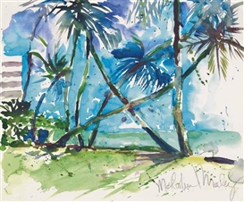 Artwork by Malcolm Morley, Key Biscayne Florida, Made of watercolour on paper