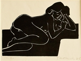 Artwork by Arnošt Paderlík, Lying Woman, Made of Linocut