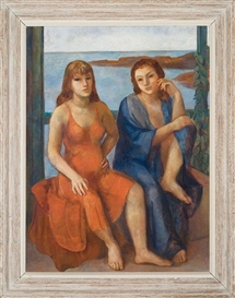 Artwork by Bernard Karfiol, Two Women, Ogunquit, Made of Oil on canvas
