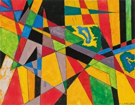 Artwork by Rolph Scarlett, Triangles and Stripes, Made of gouache on paper