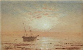 Artwork by William Trost Richards, Sunrise on the Coast, Made of watercolor and gouache
