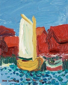 Inge Schiöler, Coastal motif with yellow sailing boat
