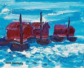 Artwork by Inge Schiöler, Costal motif with boathouses, Made of Oil on canvas