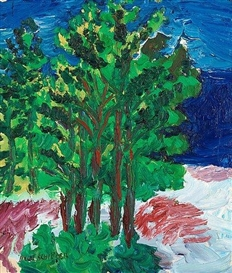 Inge Schiöler, Coastal view with pine trees