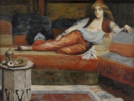 Artwork by Charles-Théodore Frère, Reclining Odalisque, Made of oil on panel