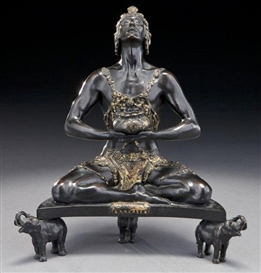Artwork by Malvina Hoffman, Hindu incense burner, Made of bronze with brown patina