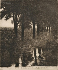 Artwork by Franz von Stuck, Forellenweiher, Made of Etching on heavy laid paper