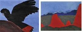 Artwork by Billy Kenda, Kukula Mcdonald, 2 Works: Central Australian Landscape & Red-Tailed Black Cockatoo, Made of acrylic on board