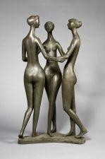 Artwork by Gerhard Marcks, Drei Grazien, Made of bronze with brown patina
