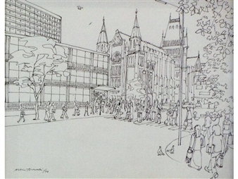 2 works: Manchester street scenes; Oxford Road and Peter Street By Albin Trowski ,1976