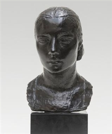 Artwork by Charles Despiau, Head of a Young Girl - Tête de Jeune Fille (Mlle. E.F.), Made of Bronze, dark brown patina, on a granite base