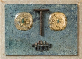 Artwork by Paul Van Hoeydonck, Bonhomme, Made of Relief, metal, wood and various materials