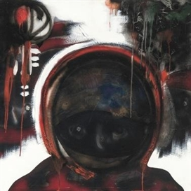 Artwork by Paul Van Hoeydonck, De Cosmonaut met de Gouden Helm, Made of Panel