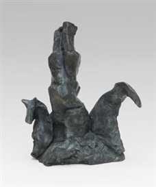 Artwork by Barry Flanagan, Small Presidential Election, Made of Bronze, brown-green patina