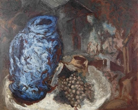 Artwork by Gérard Garouste, NATURE MORTE AU VASE BLEU, Made of oil on canvas