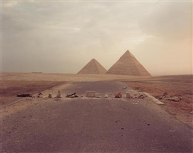 Richard Misrach, Road Blockade and Pyramids