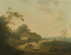 Artwork by Julius Caesar Ibbetson, John Rathbone, An extensive landscape with travellers on a road, Made of oil on canvas