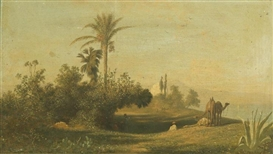 Artwork by Charles-Théodore Frère, Two Works: L'Oasis; Caravane traversant un desert, Made of each oil on canvas