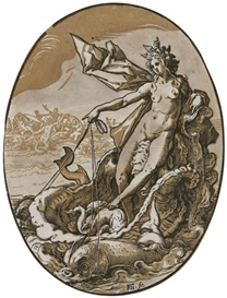 Artwork by Hendrick Goltzius, Galatea, Made of Chiaroscuro woodcut printed in brown and black on cream laid paper