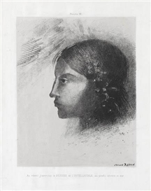 Artwork by Odilon Redon, Au Réveil j'Aperçus la Déesse de l'Intelligible au Profil Sévère et Dur, Made of Lithograph on Chine appliqué